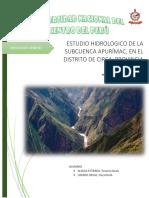 Estudio Hidrologico de La Subcuenca Apurímac en El Distrito de Circa Provincia de Abancay.