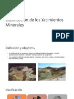 Clasificación de Los Yacimientos Minerales