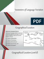 Different Parameters of Language Variation
