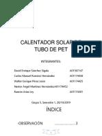 Calentador Solar de Tubo de Pet Proyecto Eje