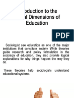 Introduction to the Social Dimensions of Education