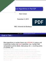 Presentation - Cohen, H. - Numerical Algorithms in PariGP.pdf