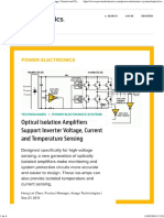 Optical Isolation Amplifiers Support Inverter Voltage, Current and Temperature Sensing