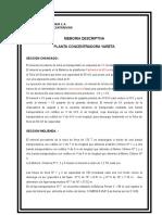 Memoria Descriptiva Planta Concentradora 2007