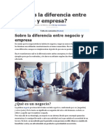 Cuál Es La Diferencia Entre Negocio y Empresa