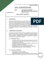 Perfil Ocupacional Mecánico Automotriz