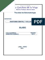 Silabo de Anatomia Dental y Oclusion