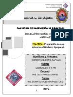 Informe Panal elaboración de un material compuesto a base de resina poliester y fibra de vidrio. (Cordova Quecara)