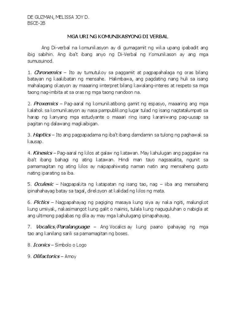 Mga Uri Ng Komunikasyong Di Berbal Dear all, today i would like to discuss two concepts: mga uri ng komunikasyong di berbal