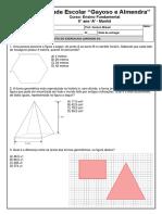 Lista de Exercicios 8 Ano - Perímetro, Area, Volumes e Estatistica
