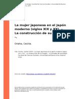 Onaha, Cecilia (2007). La Mujer Japonesa en El Japon Moderno (Siglos XIX y XX). - La Construccion de Su Imagen