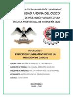 Informe N°7 Principios fundamentales de la medición de caudal