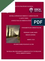 """""""Escuelas Del Pensamiento Administrativo y Su Relación Con El Ambiente Global"""""""