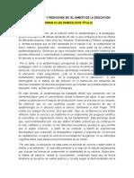 Epistemologia y Pedagogía Desde El Ámbito La Educación- Ensayo