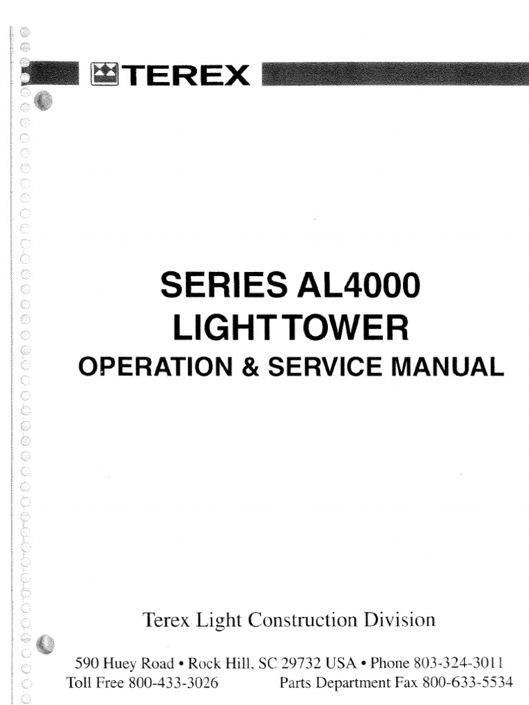 Terex Light Tower Serie Al4000 Operador Y Servicios First Of All Start Unscrewing Untwisting Unclipping Your Old