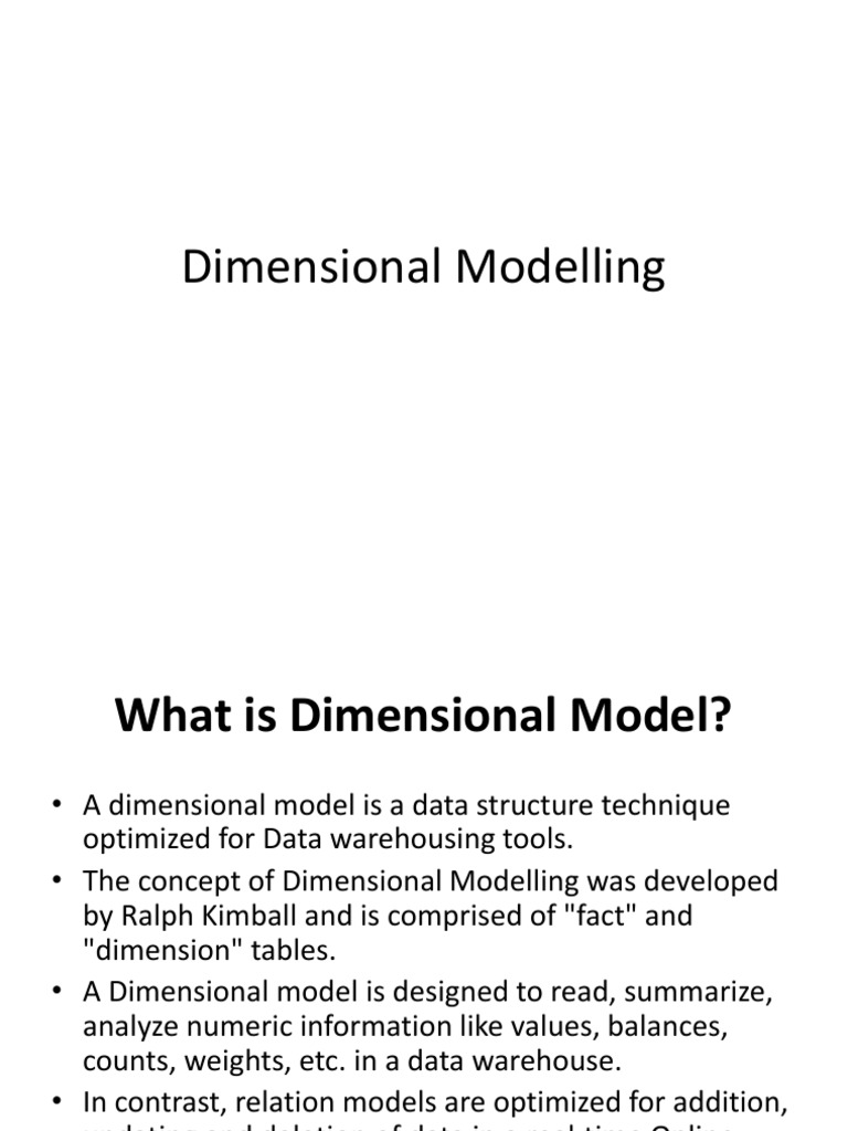 Dimensional Modelling Data Warehouse Data