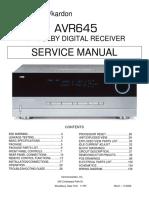 Harman Kardon AVR 645 Service Manual