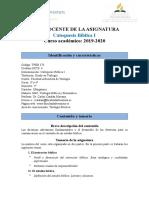 GUÍA DOCENTE DE CATEQUESIS  I (2019-2020)