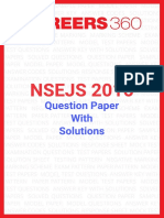 NSEJS 2016 Question Paper With Answer Key