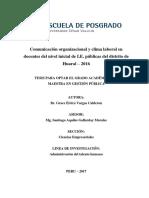 Comunicación organizacional y clima laboral en docentes del nivel inicial de I.E. públicas del distrito de Huaral – 2016
