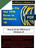 How to Fix the VPN Error in Windows10