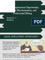 Equal Employment Opportunities, Racial Discrimination and Preferential Hiring