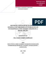 GESTION DE LA EDUCACIÓN EN VALORES Y EL DESARROLLO DE HABILIDADES ACTITUDINALES EN LOS ESTUDIANTTES