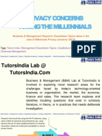 Privacy Concerns Among the Millennials Business & Management Research Dissertation Topics Ideas in the Area of Millennials Privacy Concerns