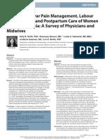 Smith Et Al 2018 Antenatal Vulvar Pain Management Labour Management and Post Partum Care of Women With Vulvodynia a Survey of Physicians and Midwives