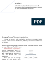 Forms of Organization and Planning
