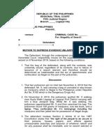 Pleading Ariola Motion to Supress Evidence 10November2019