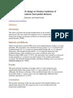 Effect of Framework Design on Fracture Resistance of Zirconium Oxide Posterior Fixed Partial Dentures