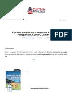 Expressing Opinions -Pengertian, Penjelasan, Penggunaan, Contoh, Latihan Soal   Pustaka Bahasa Inggris.pdf