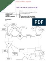 (Www.entrance-exam.net)-IGNOU MCA MCS-043 Solved Assignment 2011
