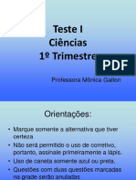 Teste I - 1o Trimestre 6o Ano Agua