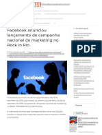 Facebook Anunciou Lançamento de Campanha Nacional de Marketing No Rock in Rio