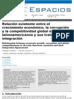 """""""Relación entre el Crecimiento Económico, Corrupción y Competitividad en Latinoamérica y sus Tratados de Integración"""""""