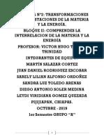 TRANSFORMACIONES Y MANIFESTACIONES DE LA MATERIA Y LA ENERGÍA.