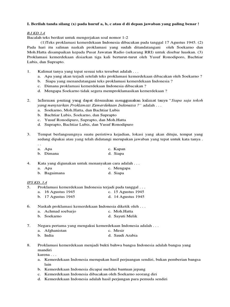 Soal Tema 2 Kelas 6 Pdf