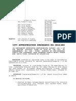 Cabadbaran City Approriations Ordinance No. 2016-002