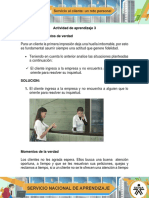 Actividad de Aprendizaje 3 Evidencia Momentos de Verdad