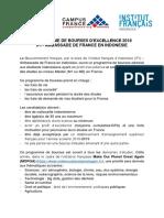 Annonce Bourse d'Excellence IFI - Ambassade de France 2018