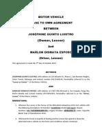 Motor Vehicle Agreement