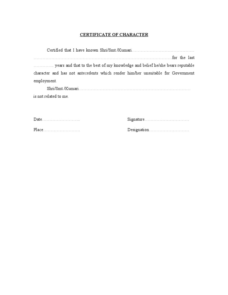Character Certificate Format