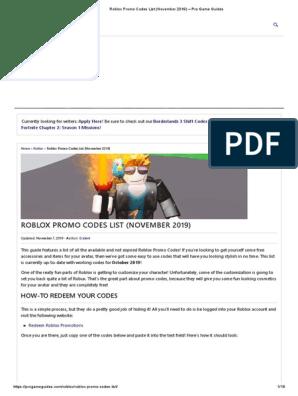Roblox Promo Codes 2019 Not Expired List November Free Roblox Promo Codes List November 2019 Pro Game Guides Pdf
