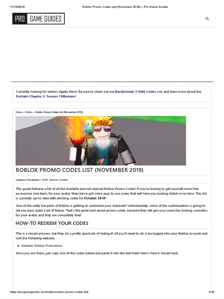 List Of Roblox Promotional Codes Roblox Promo Codes List November 2019 Pro Game Guides Pdf