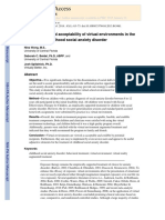 The Feasibility and Acceptability of Virtual Environments in The