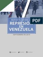 Reporte sobre represión en Venezuela a septiembre 2019
