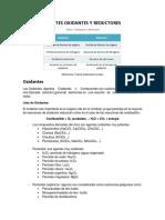 Agentes Oxidantes y Reductores