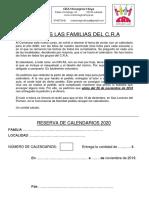 Carta Pedido de Calendarios 2020